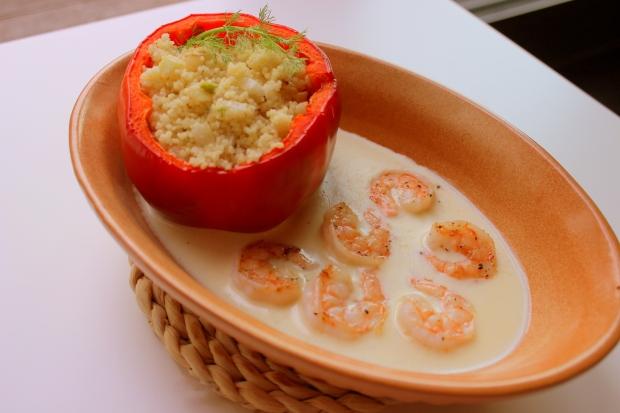 Scampi in gemberroom met couscous en venkel